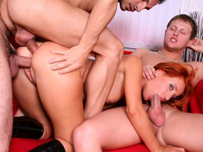 Two cocks become three for hottie's pleasure
